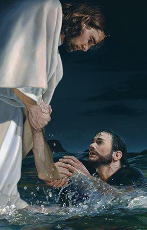 Cristo com Pedro sobre as águas. Tem misericórdia senhor creio no seu perdão por causa dos meus erros.