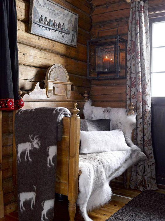 dco montagne chalet montagne chambre fourrure bois chambre chalet futur chalet dco decoration bois deco ambiance idee