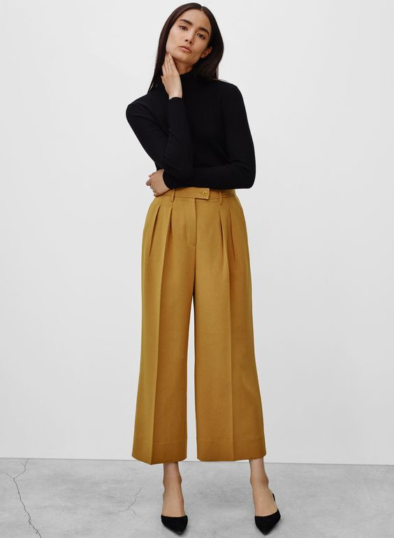 wide legged mustard gold pants #style