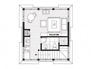 a tiny house floor plan with an inexpensive rectangle shape easy