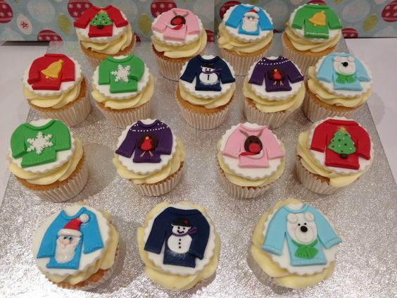 Christmas jumper cupcakes.
