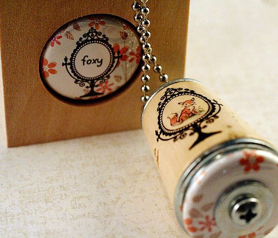 Fox Necklace - Cork in Test Tube and Wood Cube - Upcycled by Uncorked on Etsy, $24.00