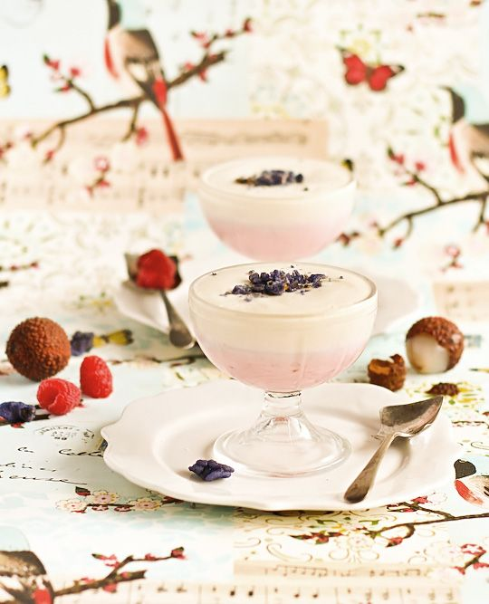 raspberry and lychee mousse with candied violets: Mousse Recipe, Glaasjes Desserts, Raspberry Mousse, Candied Violets, Valentines, Violets Recipe, Glass Desserts