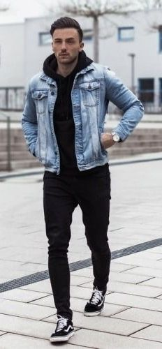 Rare Trio With A Monochrome Combo Featuring A Light Blue Denim Jacket Black Hoody Black Trous Stylish Men Casual Mens Casual Outfits Denim Jacket Men Outfit