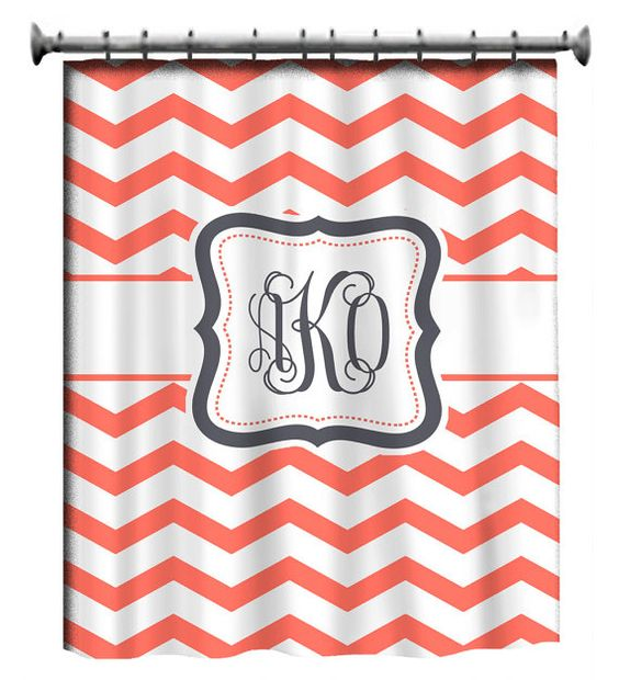 Chevron shower curtain with your monogram- in LOVE!