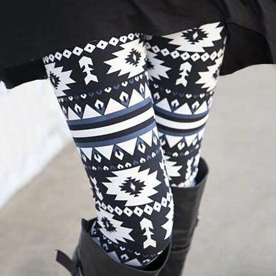 High Elasticity Fashion Women Splicing Geo-print Leggings