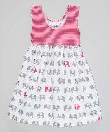Look at this #zulilyfind! Pink Elephants on Parade A-Line Dress - Infant, Toddler & Girls #zulilyfinds