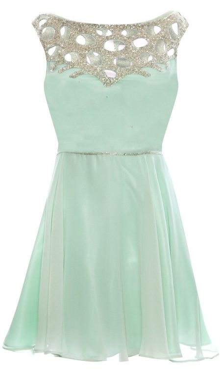 Mint green dress featuring cut out silver beaded embellishing across shoulder. i'd wear this if i was flat chested
