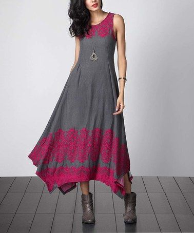 Another great find on #zulily! Charcoal & Magenta Lace-Print Sleeveless Handkerchief Maxi Dress #zulilyfinds