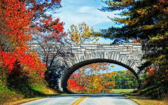 Title  Blue Ridge Autumn Bridge   Artist  Lynn Bauer   Medium  Photograph - Photography/digital Art