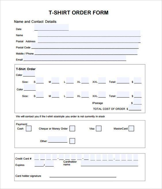 T Shirt Order Form Order Form Template Order Form Template Free Order Form
