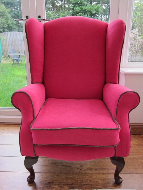 Hot pink accent wingback chair  vintage by Seatingpretty on Etsy, £329.00