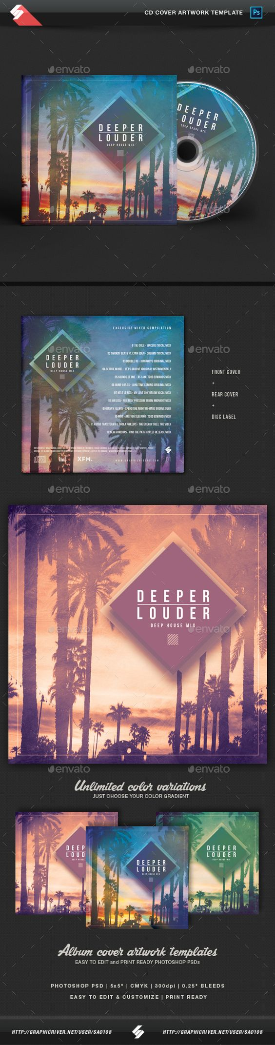 Deeper Louder - House Music CD Cover Template  — PSD Template • Only available…