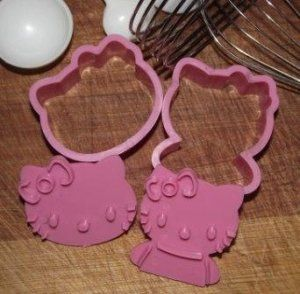 Hello Kitty Vegetable / Cookie Cutters Stamp Mold ~ Set of 2
