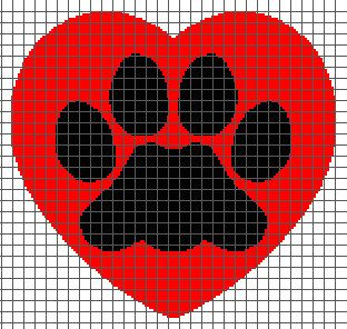 Paw Heart Graphghan Pattern With Graph and by BynumPatterns