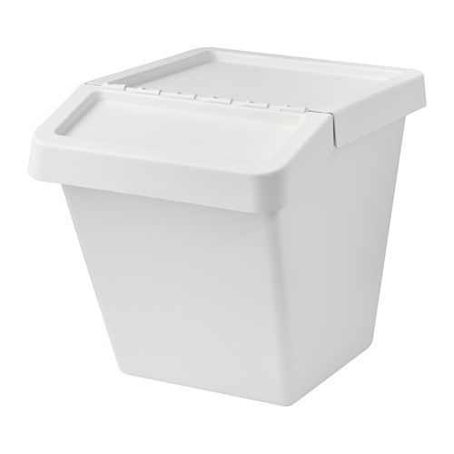 Sortera Waste Sorting Bin With Lid White Ikea Recycling Bins Ikea Pantry Baskets