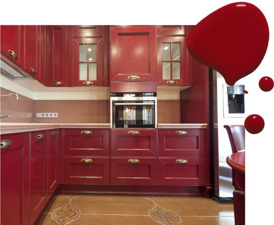 Kitchen Cabinet Paint Colors, Red Color Kitchen Cabinets