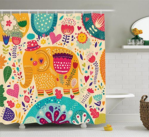 Ambesonne Elephants Decor Collection, Elephant with Color...