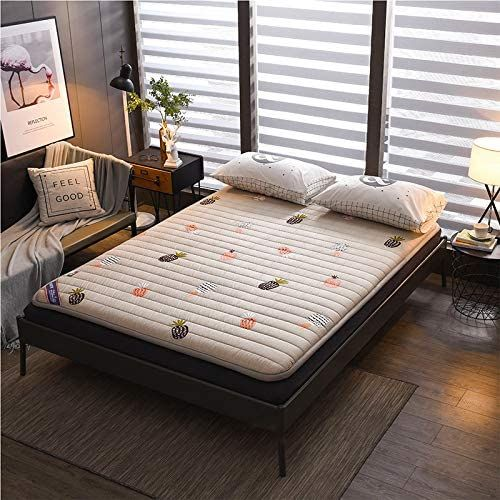 Dulplay Printing Folding Bed Mattress Topper Roll Up Futon Mattress For Student Dormitory Cotton Not Slip In 2020 Folding Bed Mattress Futon Mattress Mattress On Floor
