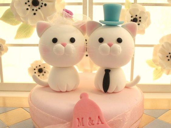 Matrimonio Tema Gatti : Cat and kitty wedding cake topper k boda gatitos y