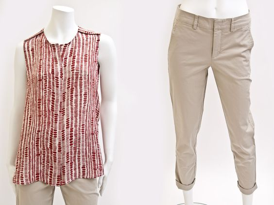 8.2 VINCE – tribal dot silk print sleeveless button front shirt in beige/red – dry clean – style V2450-11109 $335 VINCE – vintage cotton stretch chino roll up pant in khaki – machine wash cold – style V2413-20802 $265 Contact BLU'S at shop@blus.com to order  #vince #top #tribaldots #careerdressing #womeninbusiness #blusonyou #bluswomenswear