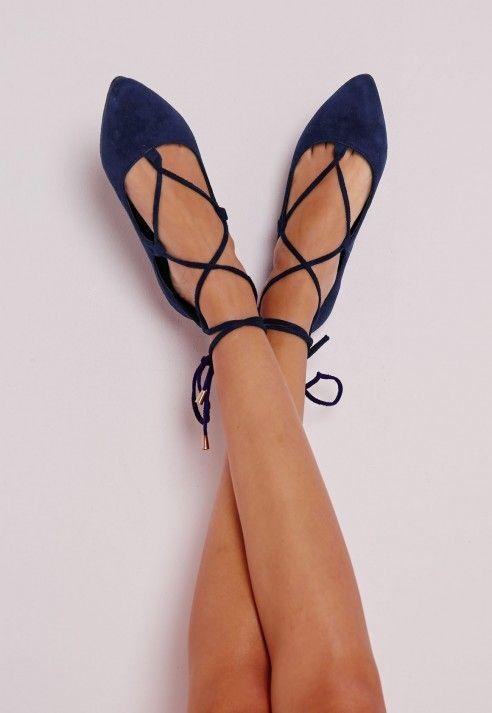 Lace Up Pointed Ballerina Flats Cobalt Blue