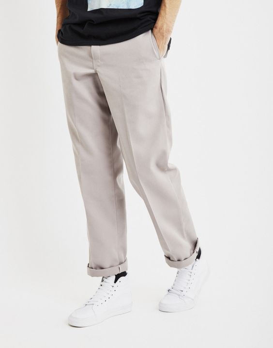 Dickies Men's Original Classic 874 Plain Flat Front Work Pants -Silver Gray
