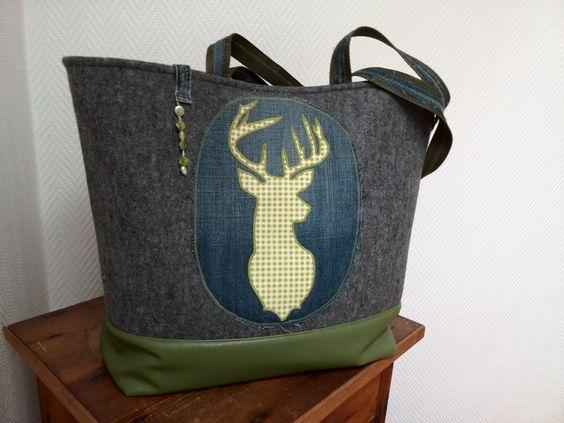 #Tasche#Hirsch aus#Wollfilz