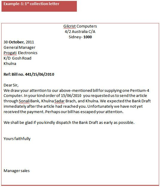 Collection Letter Template Initial Notice Collection Letter
