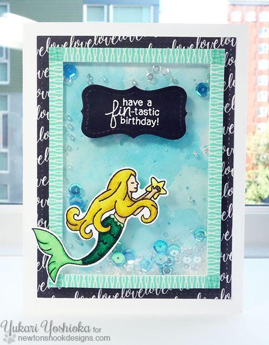 Mermaid Birthday Shaker card by Yukari Yoshioka | Mermaid Crossing Stamp Set by Newton's Nook Designs #mermaid #newtonsnook
