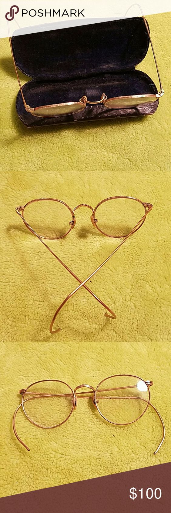 Vintage Wire Rim Glasses The glasses are in wonderful condition. The case shows considerable wear.  Excellent for decorating.....Gold tone unbranded  Accessories Glasses