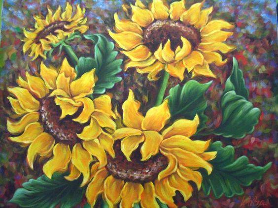 pinturas de girasoles abstractas - Buscar con Google                                                                                                                                                                                 Más