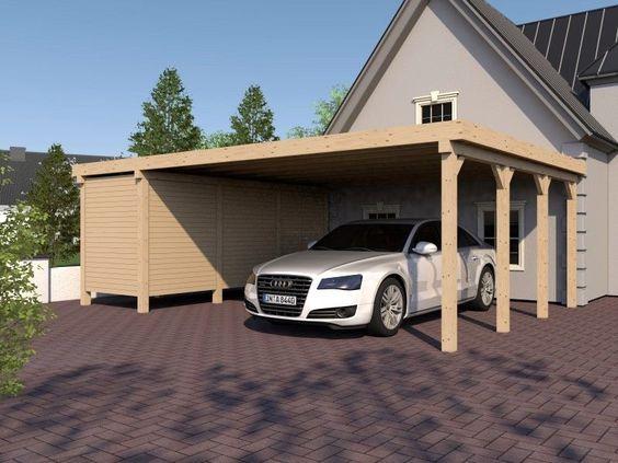 Carport Flachdach AVUS XVI 800x600 cm mit Geräteraum  Konstruktionsvollholz KVH