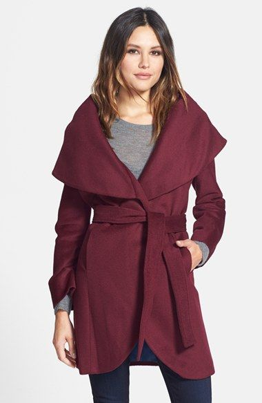 Women&39s T Tahari Wool Blend Belted Wrap Coat | Wool Wraps and Cutaway