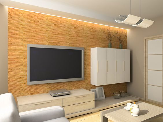 indirekte beleuchtung an der tv wand wohnzimmer. Black Bedroom Furniture Sets. Home Design Ideas