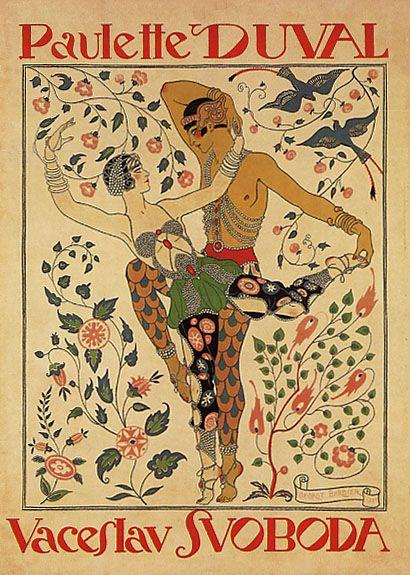 Paulette Duval and Vaceslv Svoboda dance poster by Georges Barbier. Art Nouveau