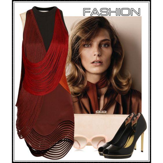 """Stella McCartney Fringed stretch-cady mini dress"" by crblackflag on Polyvore"