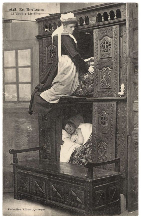 A box-bed (or closed bed, close bed, enclosed bed) is a bed enclosed in furniture that looks like a cupboard, half-opened or not. The form originates in western European late medieval furniture. The box-bed is closed on all sides by panels of wood. One enters it by removing curtains, opening a door hinge or sliding doors on one or two slides. The bed is placed on short legs to prevent moisture due to a dirt floor.: