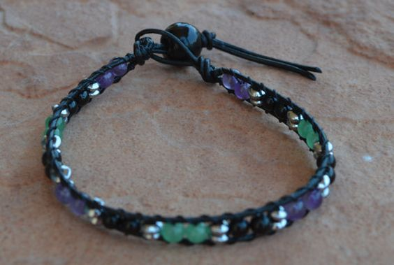 Aventurine Black Tourmaline and Amethyst Leather by CrystalMeB
