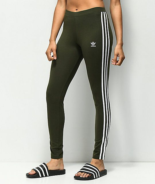 professional sale various styles separation shoes adidas 3 Stripe Olive Leggings in 2019 | Athleisure outfits ...