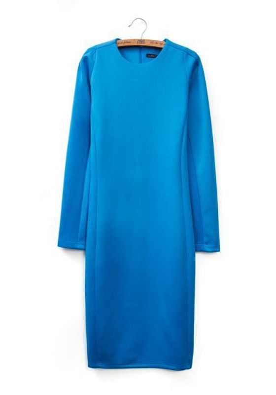 Sapphire Blue Plain Wrap Cotton Blend Midi Dress