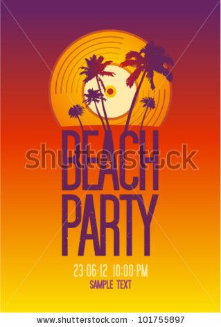 Beach Party design template with place for text. - stock vector