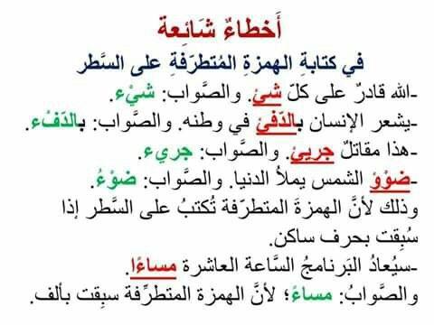 اخطاء شائعة في كتابة الهمزة المتطرفة Learn Arabic Language Learning Arabic Arabic Language