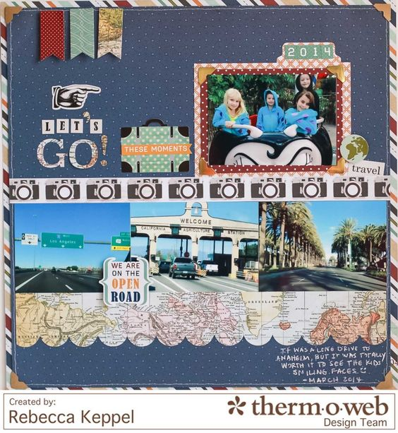 Let's Go **Therm O Web** - Scrapbook.com - Use Echo Park's Getaway collection to scrapbook the trip to Disneyland.