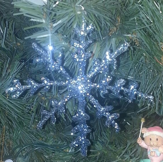 Hot glue ornament.  Print out a picture of a snowflake and cover it with wax paper. Rub a little dish soap over the wax paper to prevent the glue from sticking. Trace out with your glue gun. Wait to dry and peel off paper. Cover in modge podge and add glitter.  Let dry and flip over to glue a ornament hook to the back.