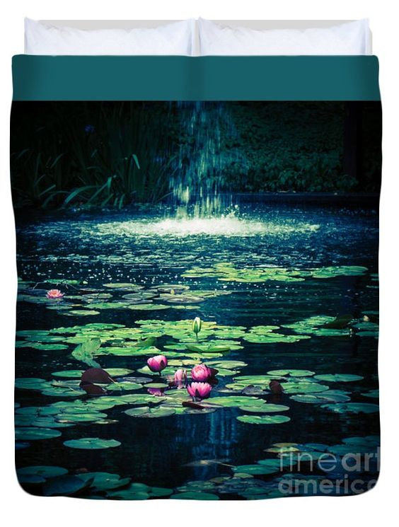 Water Lily Pond 6 Queen Duvet Cover by Wei-San Ooi.  Available in king, queen, full, and twin.  Our soft microfiber duvet covers are hand sewn and include a hidden zipper for easy washing and assembly.  Your selected image is printed on the top surface with a soft white surface underneath.  All duvet covers are machine washable with cold water and a mild detergent.