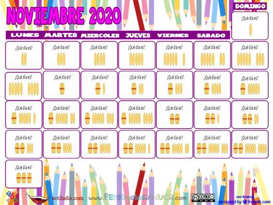 Calendario palillos infantil ABN – Noviembre 2020
