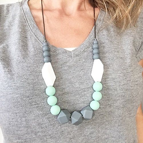 Baby Teething Necklace for Mom Mint//Gray BPA Free Silicone Teething Beads