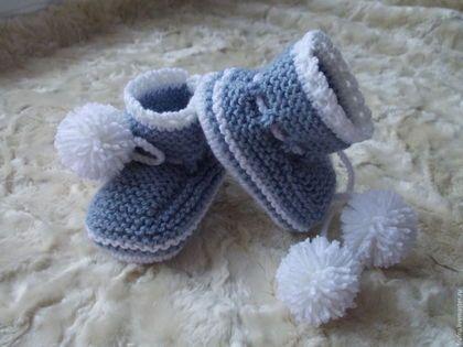 Для новорожденных, ручной работы. пинетки вязаные спицами для новорожденных. ира куклина. Интернет-магазин Ярмарка Мастеров. Детский акрил
