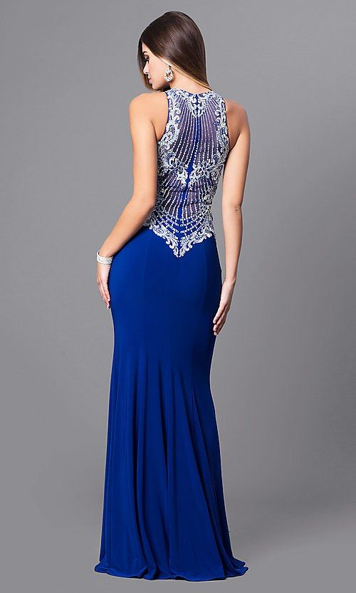 Embroidered-Bodice Long Prom Dress with
